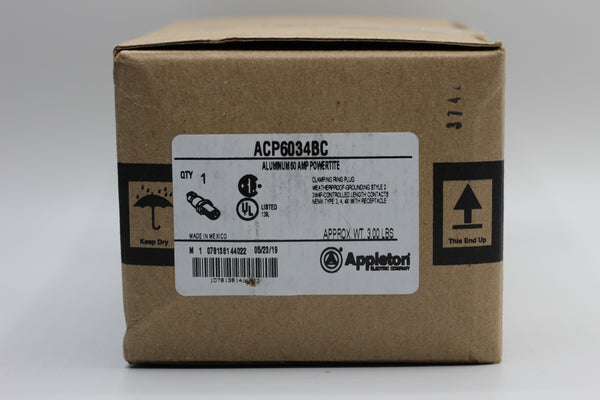 Appleton ACP6034BC 60A 3W 4P Powertite Aluminum Clamping Ring Plug