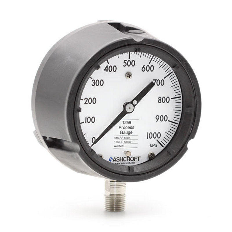 "Ashcroft 1259 Process Pressure Gauge Liquid Filled Stainless Steel 4.5"" Dial 1/2"" NPT Lower 0/1000 KPA Range"