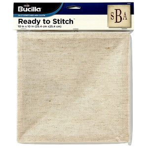 "Bucilla Ready to Stitch Blank 14ct Stretched Aida Cloth, 10""x10"", Natural Colour"