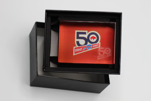 Collectible Buffalo Bills Glass Plaque - 50 years commemoration