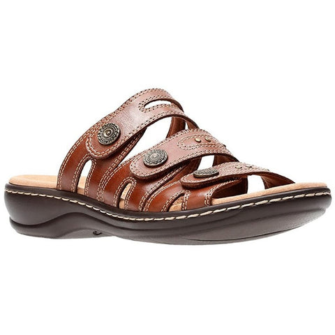 Clarks Women's Leisa Lakia Slide Sandal Dark Tan Leather, Size 7.5 (34094)