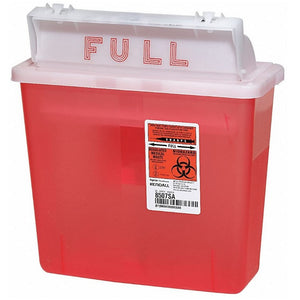 Covidien 8507SA SharpSafety Container with Counterbalance Lid, 5 Quart Capacity, Transparent Red, 20 Pack
