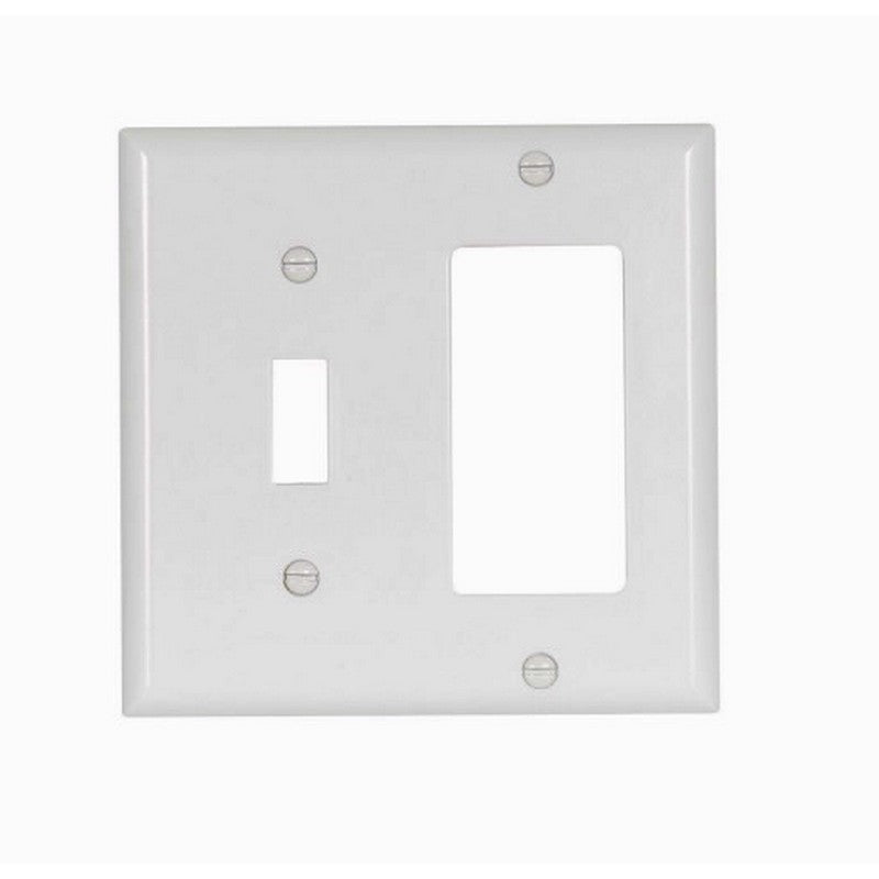 Eaton 2153W-BOX Standard Size 2-Gang Combination Thermoset Decorator Wall Plate, White, Box of 10
