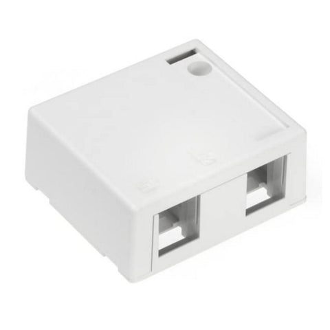 Leviton 41089-2WP QuickPort Surface-Mount Plenum Rated Housing, 2-Port, White, 1-PACK