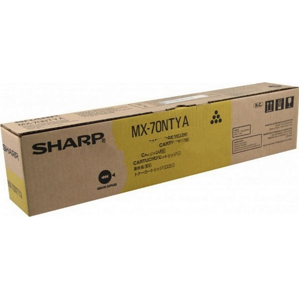 Sharp MX-70NTYA Genuine Original Toner, 32000 Page-Yield, Yellow