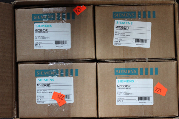 Siemens MCS603R Disconnect Switch 3-Pole 30A 600V Right Handed Drive