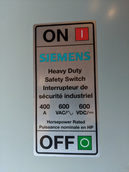 Siemens HFC365NA Heavy Duty Safety Switch CSA 3P 400A 600VAC 600VDC Neutral Type 1 Indoor