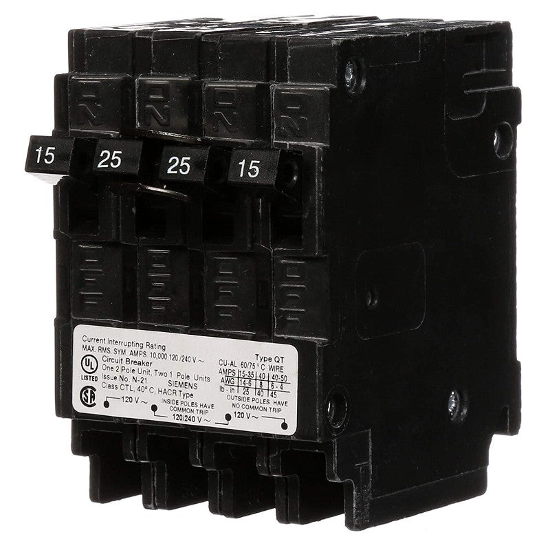 Siemens Q21525CT Quadplex (2) 15-Amp Single Pole + (1) 25-Amp Double Pole, 10 kAIC, Type QT, Circuit Breaker