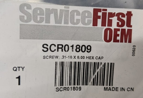 Trane Service First OEM SCR01809 Screw,  0.31-18 x 8.00 Hex Head Cap, For Chiller