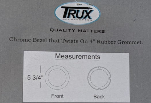 "Trux 4"" Chrome Plastic ""Lock On"" Bezel, Truck Light Accessory (pn TBEZ-4CH4)"