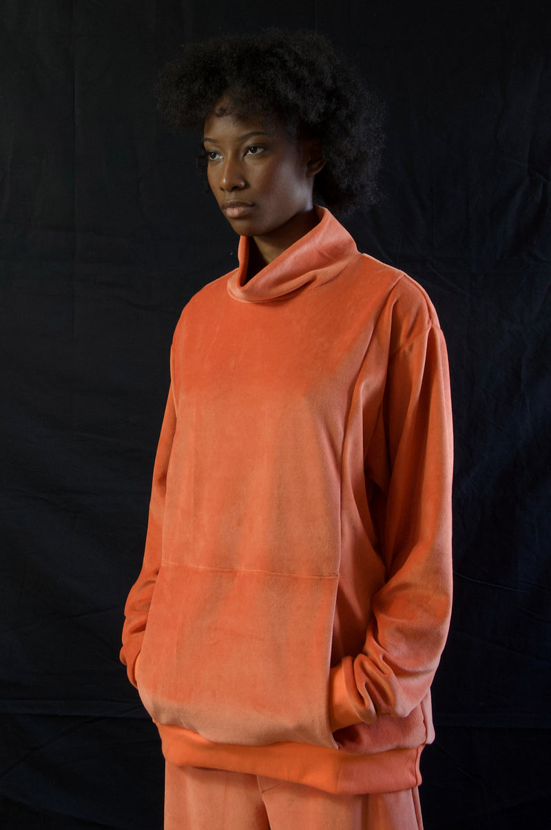 BILLY VELOUR TOP ORANGE