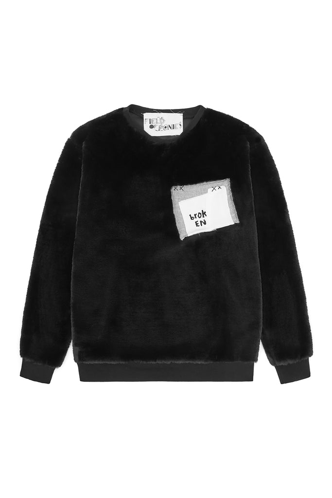 BROKEN BLACK FUR SWEATSHIRT