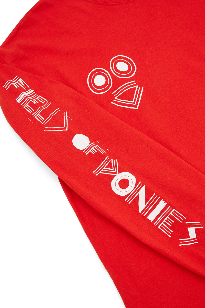 "RED ""HELLO, SHOOT ME"" LONG SLEEVES T-SHIRT"