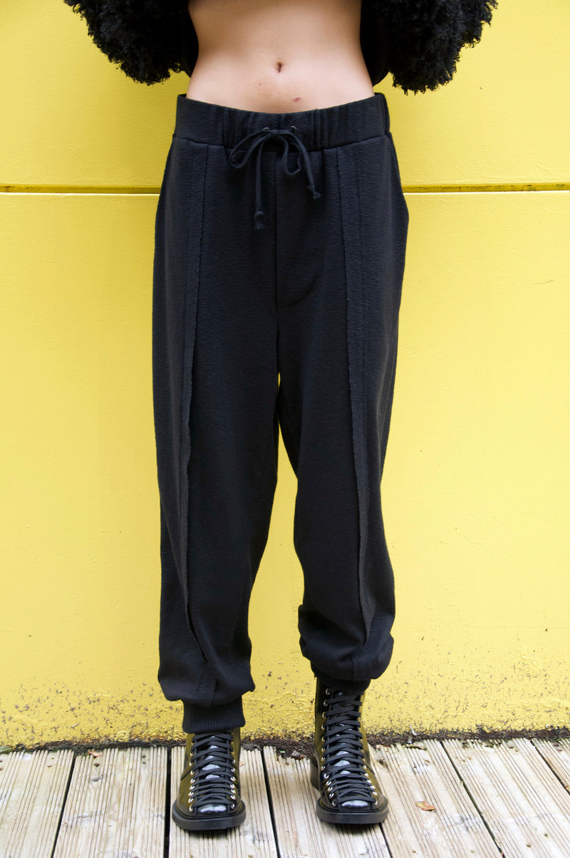 SLUB JERSEY BLACK SWEATPANTS