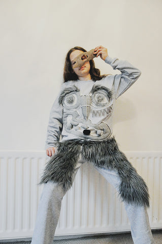KID GREY MONSTER SWEATSHIRT