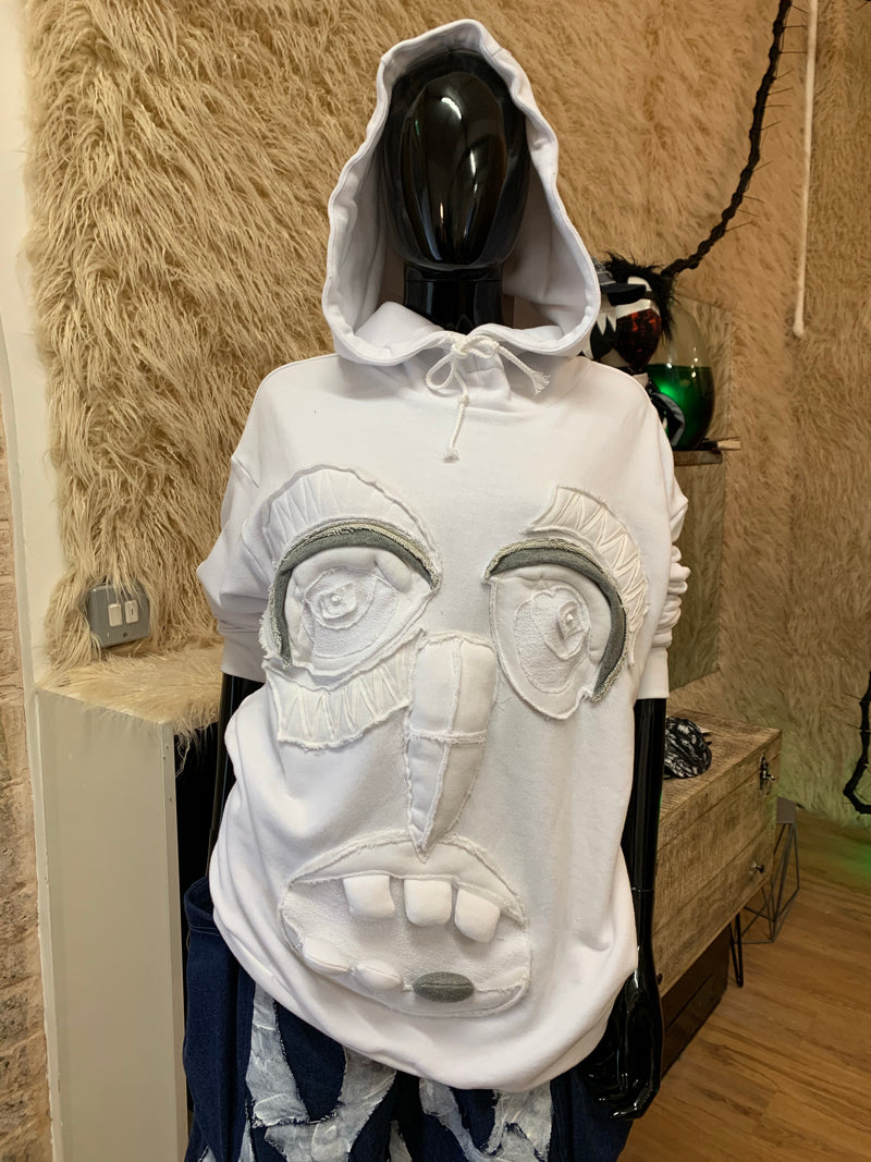 White monster face hoodie