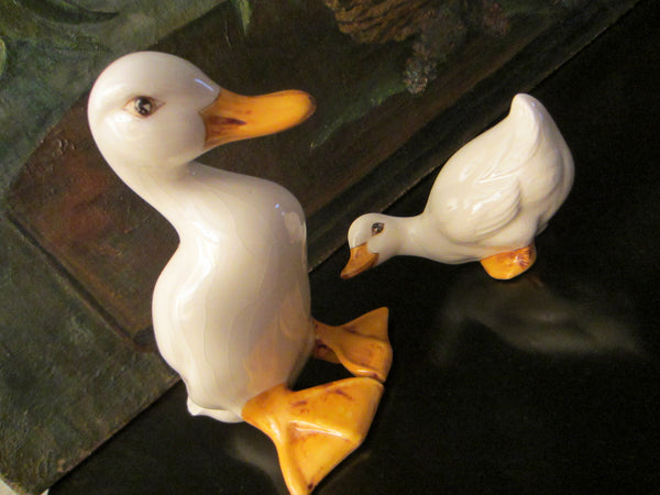 Eva H Two Hand Painted Ceramic Mother And Baby Ducks With Signature - Designer Unique Finds   - 5