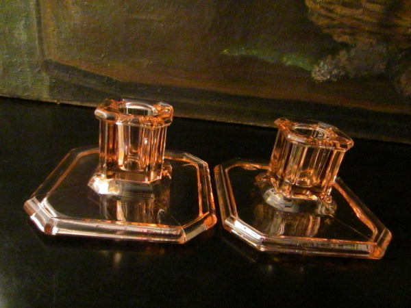 Tiffin Rosy Glass Candle Holders - Designer Unique Finds