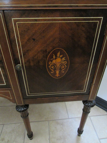 Federal Mahogany Sideboard Inlaid Ebonized Lines Fruit Marquetry - Designer Unique Finds   - 2