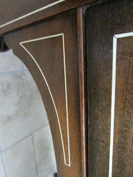 Federal Mahogany Sideboard Inlaid Ebonized Lines Fruit Marquetry - Designer Unique Finds   - 6