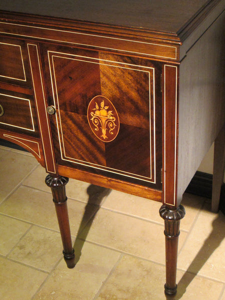 Federal Mahogany Sideboard Inlaid Ebonized Lines Fruit Marquetry - Designer Unique Finds   - 8