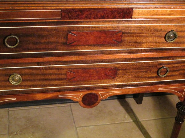 Federal Mahogany Sideboard Inlaid Ebonized Lines Fruit Marquetry - Designer Unique Finds   - 7