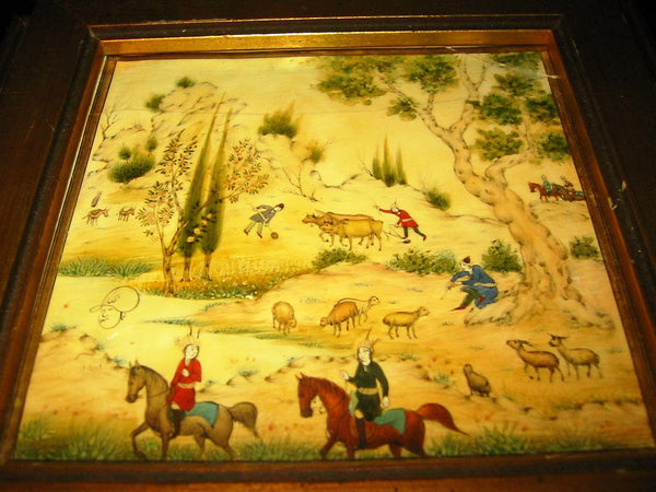 Persian Miniature Painting Signed Haji Mosavar Olmaleki W Provenance - Designer Unique Finds