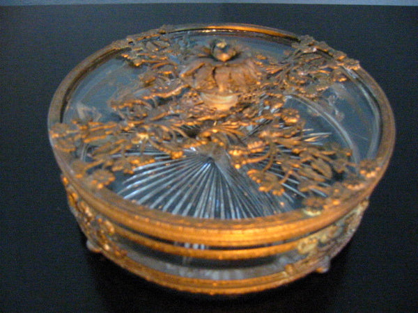 Brass Serving Relish Dish Divided Glass Insert Tray Ormolu Footed Floral Finial - Designer Unique Finds   - 3