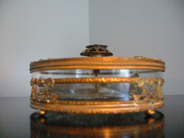 Brass Serving Relish Dish Divided Glass Insert Tray Ormolu Footed Floral Finial - Designer Unique Finds   - 4