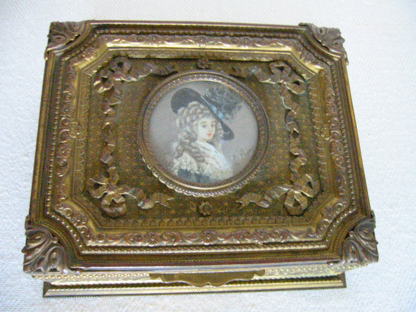 French Gilt Bronze Humidor Box Mounted Signed Painting Portrait - Designer Unique Finds   - 1