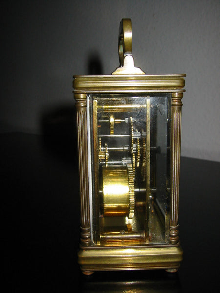 Cambridge France Carriage Winding Clock Brass Case Beveled Glass - Designer Unique Finds   - 2