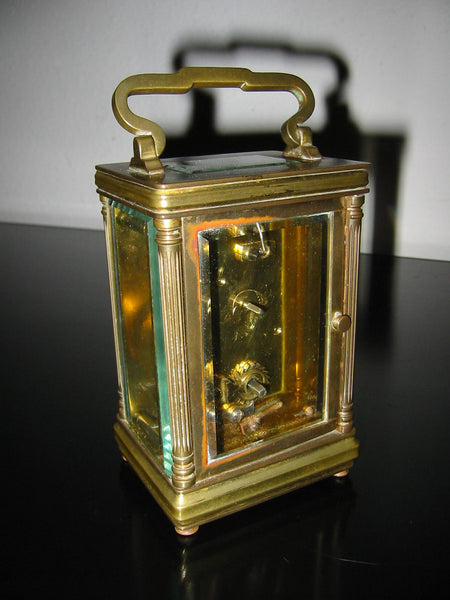 Cambridge France Carriage Winding Clock Brass Case Beveled Glass - Designer Unique Finds   - 4
