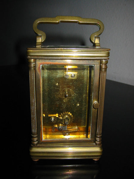 Cambridge France Brass Hand Winding Carriage Clock Beveled Glass Walls - Designer Unique Finds
