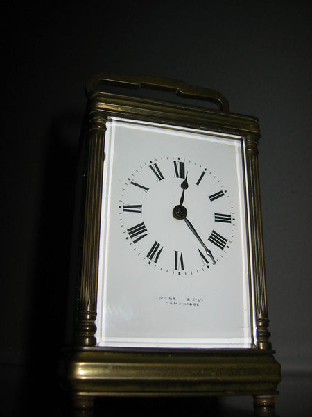 Cambridge France Carriage Winding Clock Brass Case Beveled Glass - Designer Unique Finds   - 7
