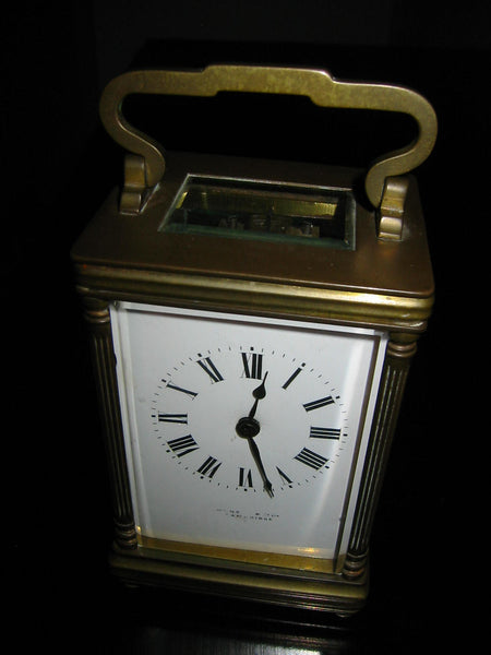 Cambridge France Carriage Winding Clock Brass Case Beveled Glass - Designer Unique Finds   - 3