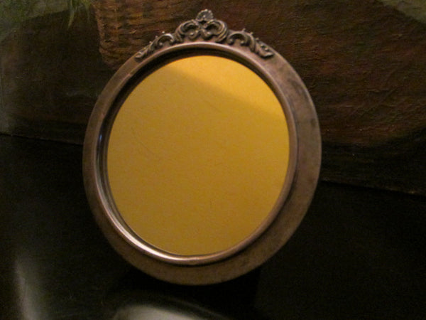 Silver Crest Bakelite Art Deco Mirror Decorated Floral Crown - Designer Unique Finds   - 1