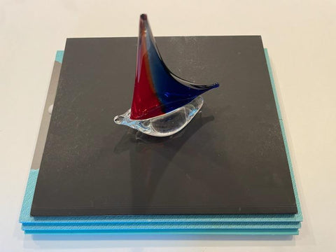 A Red Blue Glass Sailboat Mid Century Modern Sculpture Paperweight