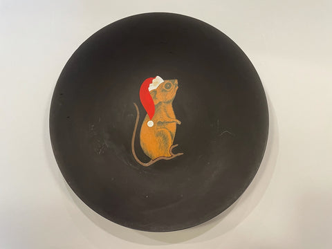 A Black Couroc Bowl Hand Painted Mouse Made In Monterey California