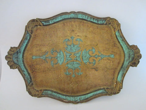 Florentine Gilt Art Tray Turquoise Floral Decoration - Designer Unique Finds
