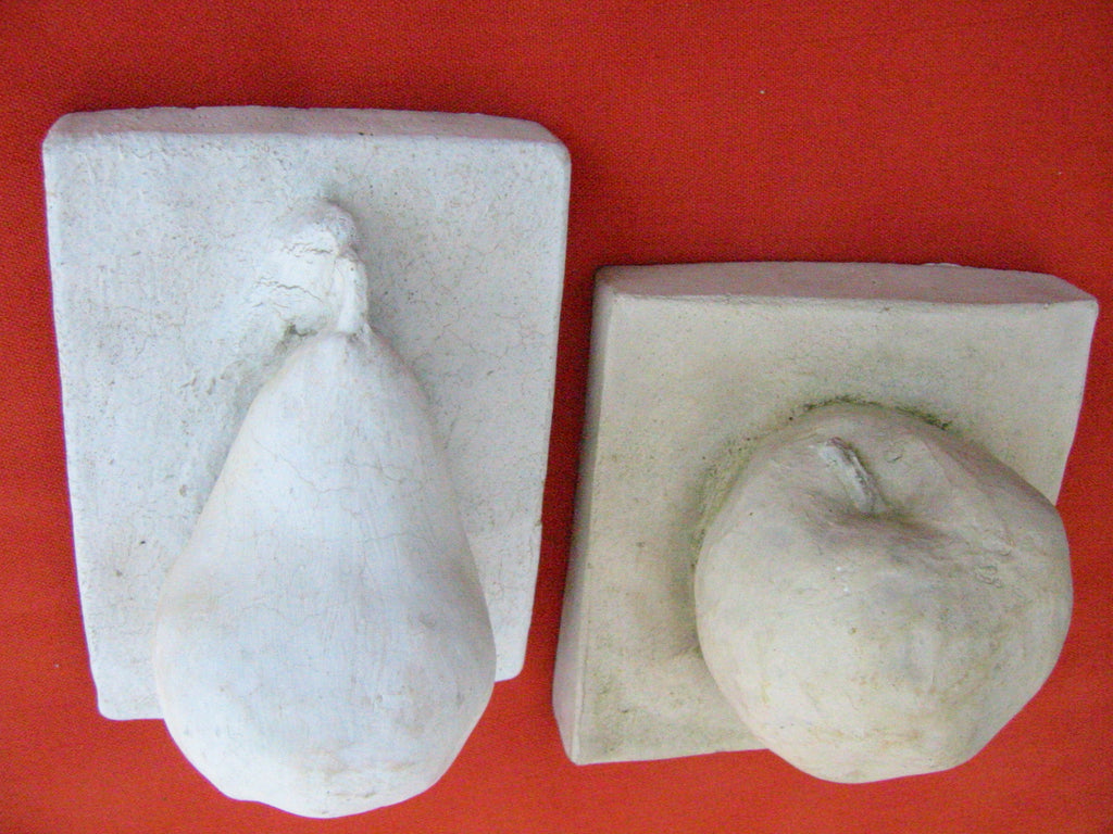 Cement Apple Pear Stone Garden Wall Decor SF Toronto Canada - Designer Unique Finds   - 1