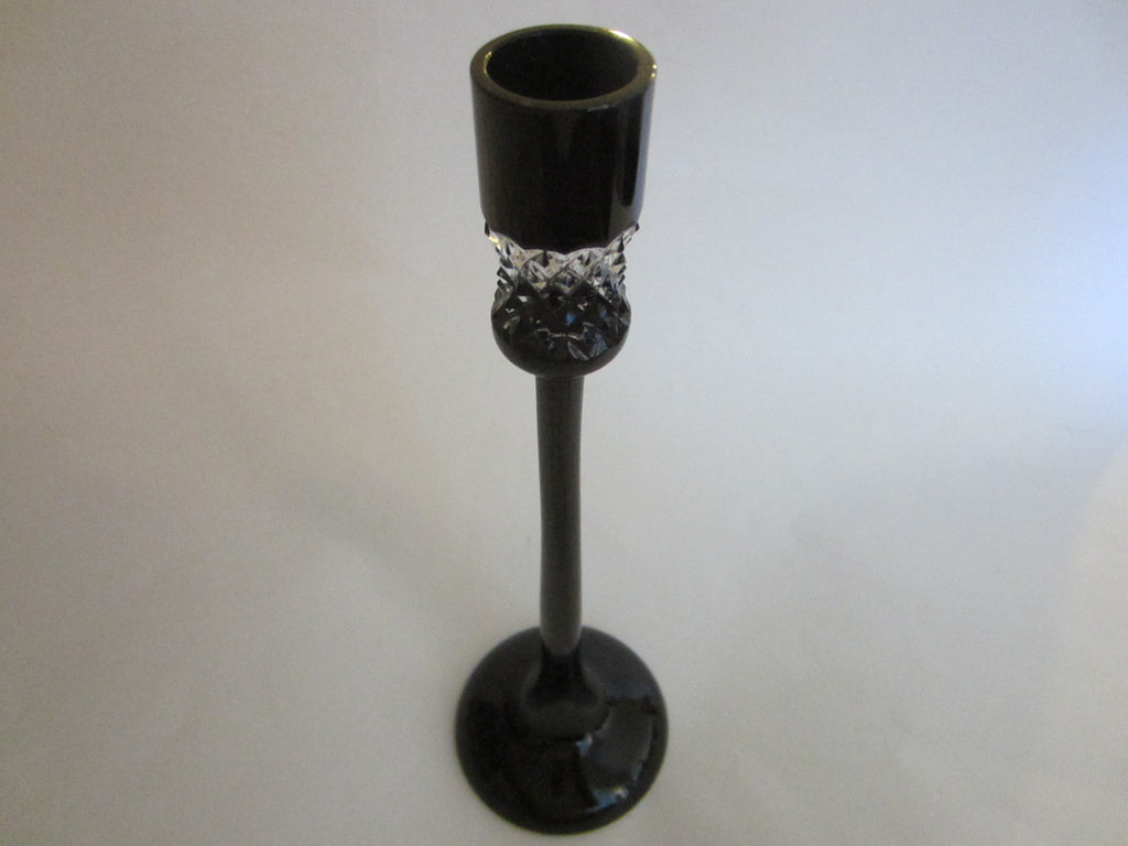John Rocha Waterford Black Cut Candlestick Made in Hungary - Designer Unique Finds