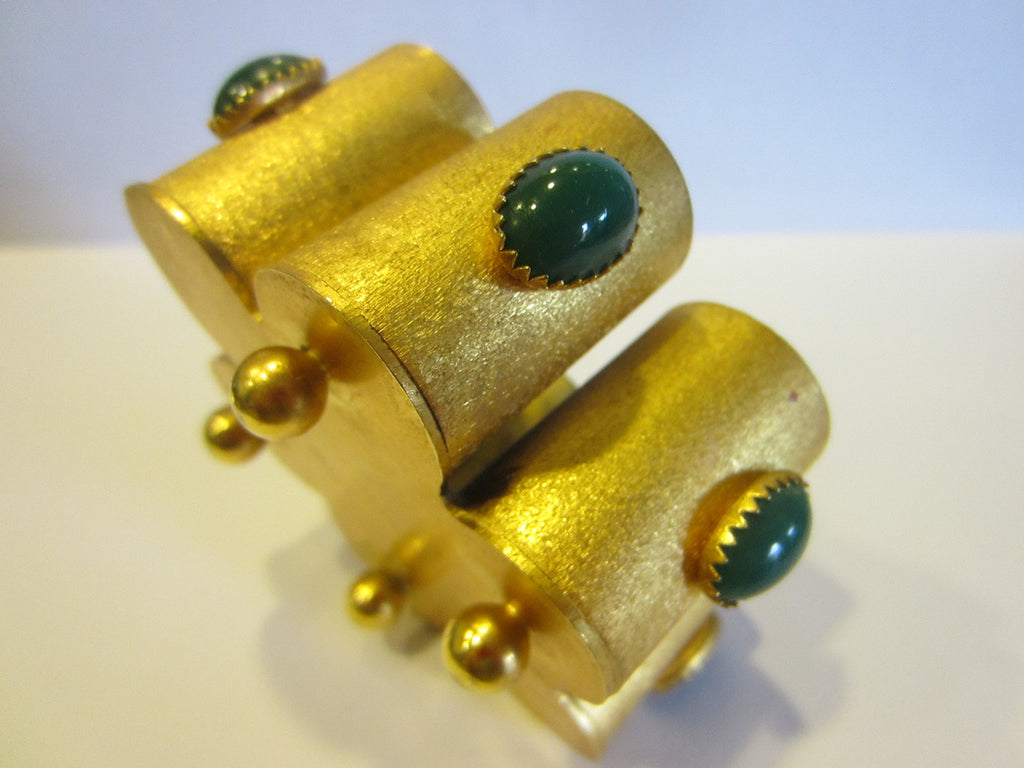 Bijoux Princeps Florence Italy Golden Caddy Decorated Green Jade Oval Cabochons - Designer Unique Finds   - 1
