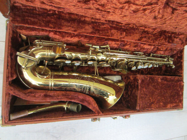 Buescher Aristocrat Elkhart Brass Saxophone Mother Of Pearl Bakelite - Designer Unique Finds   - 3