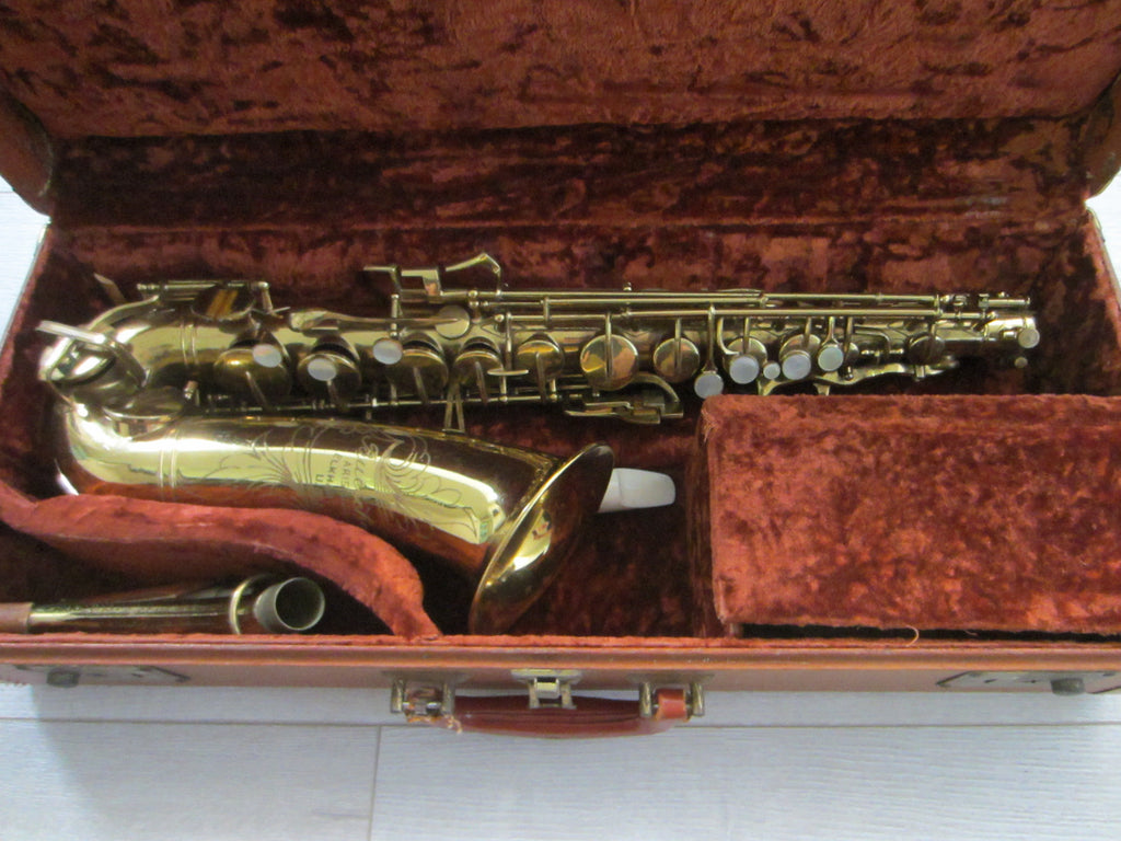 Buescher Aristocrat Elkhart Brass Saxophone Mother Of Pearl Bakelite - Designer Unique Finds   - 1