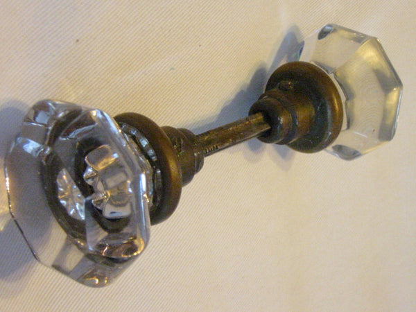 Mid Century Crystal Door Knob Metal Rod - Designer Unique Finds