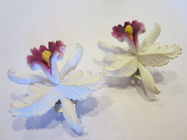 Mid Century Germany Orchids Clip Earrings - Designer Unique Finds