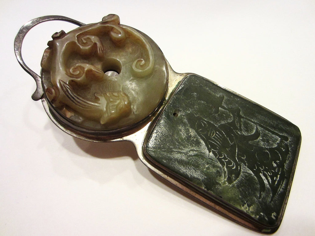 Jade Pendant Asian Carved Dragon Figurative Silver Frame By Gail Goldin - Designer Unique Finds