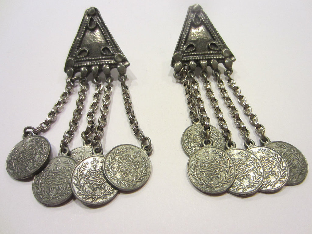Ben Amun Chandelier Coin Clip Earrings Signed By Egyptian Designer - Designer Unique Finds   - 1