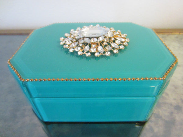 Blue Hexagonal Jewelry Box Center Sparkling Medallion - Designer Unique Finds