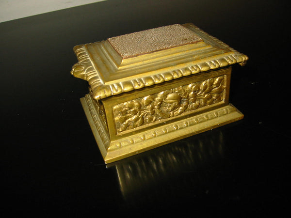 Rococo Style Stamp Box Brass Medallion Decorated Figures Floral Relief - Designer Unique Finds   - 2